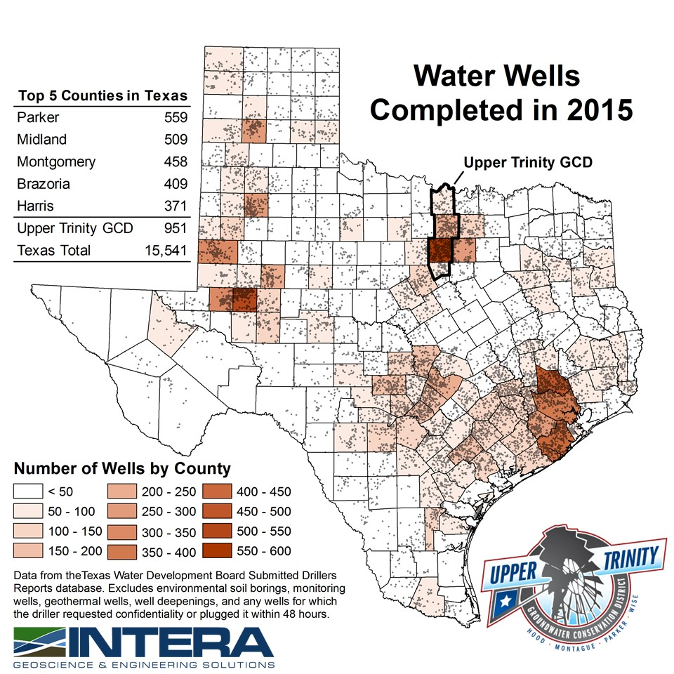 Map Of Texas Please.Water Well Report By County Upper Trinity Groundwater Conservation
